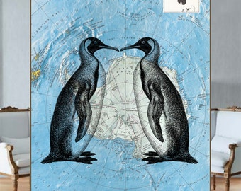 A couple of Penguins over the reprinted Antarctica map