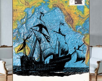 Old-fashion Boat on the old Pacific Ocean map