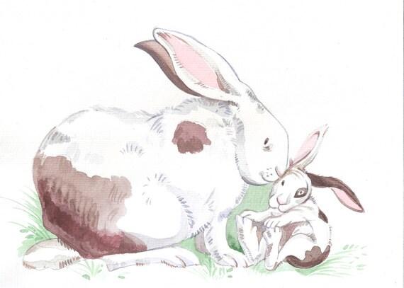 Mom -Motherhood Love- Bunnies Rabbit Baby & Mama-Print from Original Watercolor