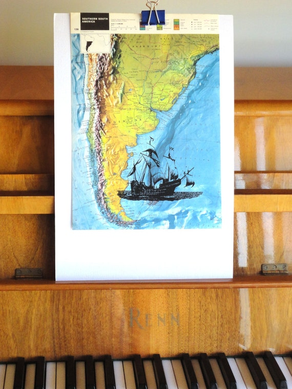 Atlantic Ocean-Argentina-Paraguay-Brazil-Old-fashion- Boat -around South America-old map-vintage book page-Print