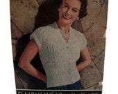 Vintage 1950s Knitting Pattern Ladies Short Sleeved Cardigan