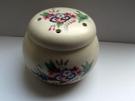 Vintage 1960s Axe Vale Devon Pottery Pot Pourri Lidded Floral Pot