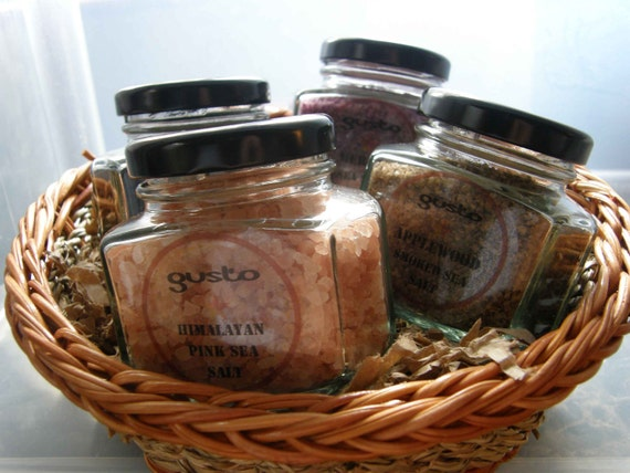 Artisan Salt Gift Basket with Glass Bottles - Holiday Shopping and Cooking Made Simple