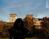 Under the castle - Signed photo 8 X 12 - BOGO sale - black hood fantasy medieval renaissance renfest sky blue italy autumn