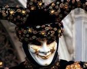 Jester - Signed photo 8 x 12 - BOGO sale - Carnival of Venice mask costume masquerade baroque mystery black orange hat