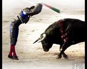 Banderillero - Signed photo 4 x 4 - Corrida Bullfight torero bull bullfighting folklore home decor blue