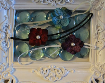 Set of 3 small flower headbands-u pick the color of elastic for each-GREAT SAVINGS