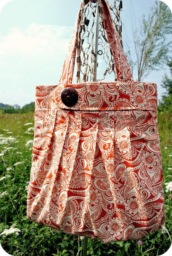 Clemson Large Orange Tote Purse - 100% Cotton - Bailey - The Tattered Traveler