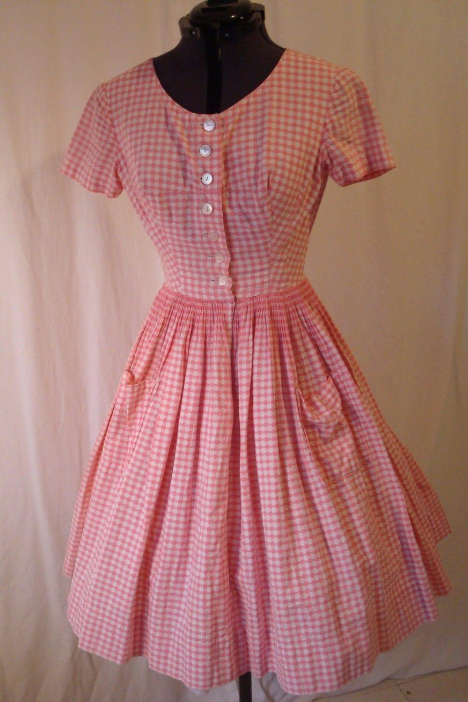 Vintage Pink Gingham Dress 1950s Cotton Day Dress Mad Men