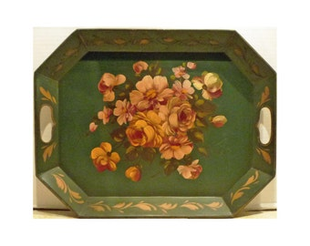 Vintage TOLEWARE TRAY Octagonal Green Floral Painted - Price Reduced - Free Shipping