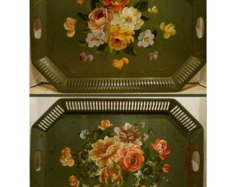 Pair TOLEWARE TRAYS - Vintage Green RETICULATED Painted Floral - Price Reduced - Free Shipping