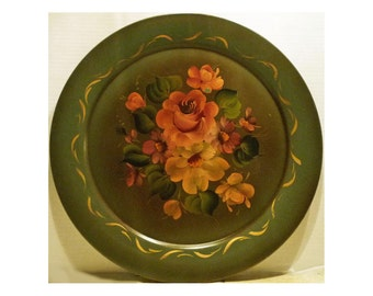 Vintage TOLEWARE TRAY - Green Floral Painted - hard-to-find ROUND shape - Price Reduced - Free Shipping