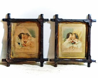 Pair Victorian Framed Colored Litho Prints of LITTLE GIRL CHILDREN c1890