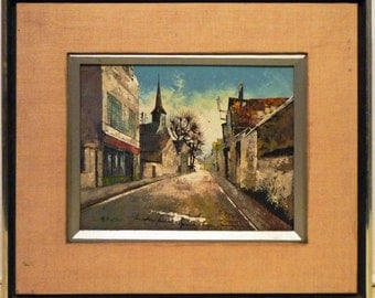 Mid century OIL Painting MEXICAN Village Street Scene SIGNED Nissen - Free Shipping