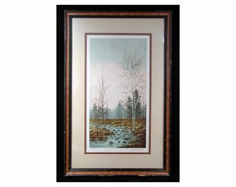 Landscape LITHOGRAPH - Signed, Numbered by DAVID MERRILL (Listed artist) - New England woods.  Gallery framed.