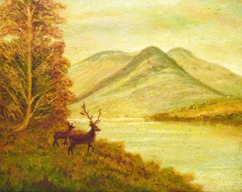 19th century ENGLISH LANDSCAPE Oil PAINTING -  Two Deer in the Mountains - Free Shipping