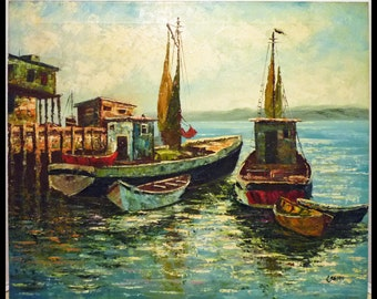 Impressionist Seascape OIL PAINTING - marine scene w/ fishing BOATS.  Signed Crespi.  Free Shipping