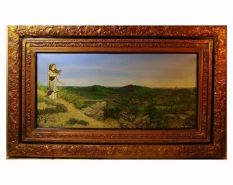 """Large HARBOR LANDSCAPE Oil Painting by Kurt Hardcastle titled """"Home Port"""".  Magnificent ornate frame"""