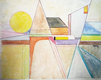 ABSTRACT WATERCOLOR by ROKUS (listed artist).  Signed, dated geometric // Free Shipping