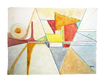 Bold Modern ABSTRACT WATERCOLOR by Rokus (NY Listed Artist).  Signed, Dated. Free Shipping
