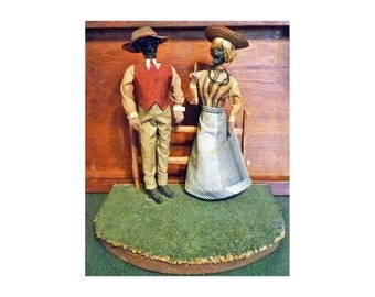 FOLK ART African American FIGURINES - Farmer & Wife - Nut carvings - c1900-30s - Free Shipping