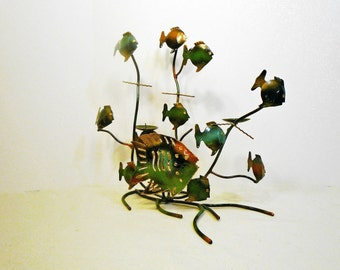 Midcentury Modern FISH CANDELABRA - 1960s Enamel on COPPER - Abstract design - Free Shipping
