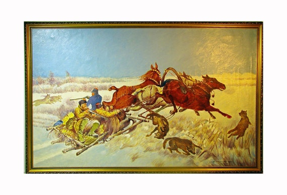 Huge RUSSIAN OIL PAINTING - Troika w/ Horses & Wolves in the snow by Leon Waczinski