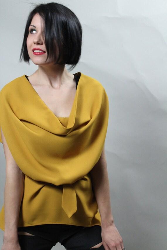 Womens Mustard Blouse Feminine top Draped shirt waist belt Made to order