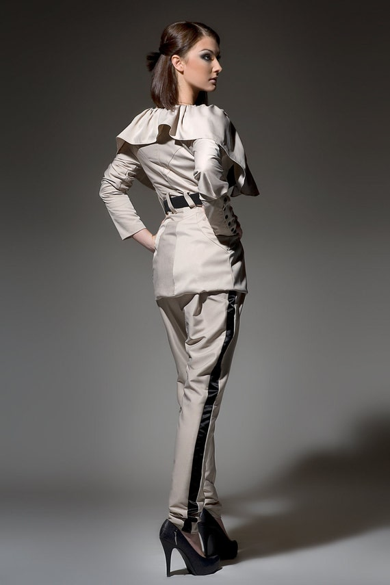 Women's Khaki Tan Taupe Champgne and Black  tuxedo pants, low rise pants, tapered pants Made to order