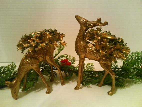 Pair of Two Solid Brass Reindeer, Christmas Candle Holders with Taper Covers