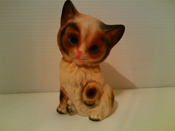Cute Ceramic Kitty Cat with Glass Eyes - Japan