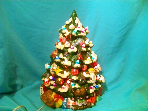 1974 California USA Ceramic Lighted Decorated Christmas Tree