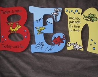 One Fish, Two Fish Inspired Hand Painted Wooden Letters ***MESSAGE BEFORE ORDERING***