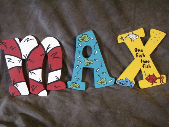 Reserved for Monet Dr. Seuss Inspired Hand Painted Letters ***MESSAGE BEFORE ORDERING***