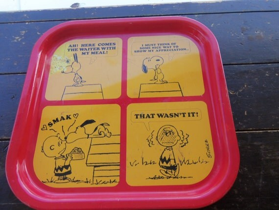 Vintage metal Peanuts Snoopy Charlie Brown Smak Collectible Tray