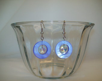 Purple Mother of Pearl Crystal Earrings