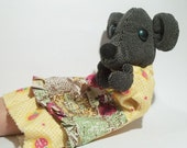 Cute  vintage MOUSE puppet , her name is Dysia. Use her for assemblage, mixed media or to keep company.