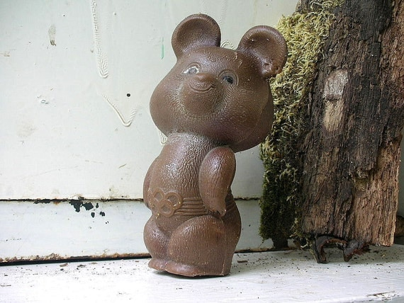 VINTAGE 1980 Moscow OLYMPIC plastic BEAR toy, his name is Misha. Use for shadow boxes, mixed media art or as a friend.