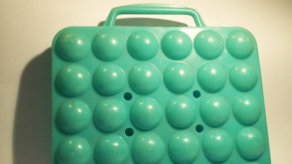 VINTAGE EGG BASKET/ container turquoise, use for home decor, kitchen decor, assemblage, etc.