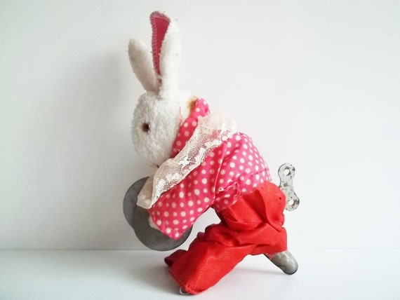 ANTIQUE wind up RABBIT with KEY, his name is Afanasei. Use him for assemblage, home decor or to keep company.