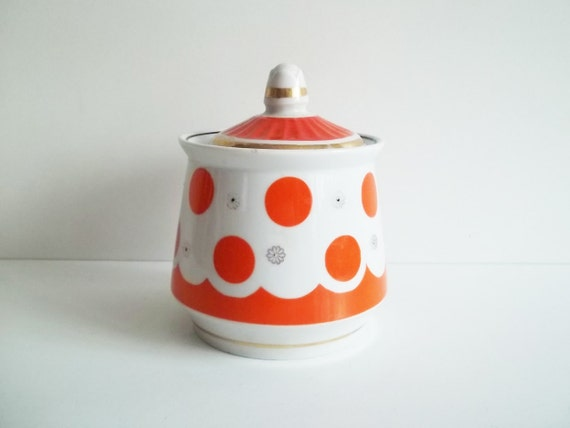 Vintage POLKA DOT Container, use fror kitchen and home decor.