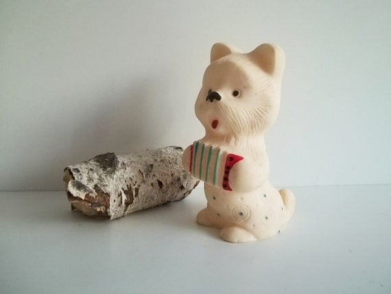 Cute  vintage toy DOG, his name is Dmitry. Use him for assemblage, mixed media or to keep company.