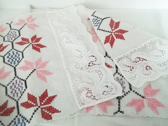 Darling Cross Stitched Cloth, use for wall decor, table decor, home decor.