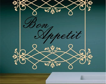 Bon Appetit Kitchen Decal Vinyl FREE SHIPPING