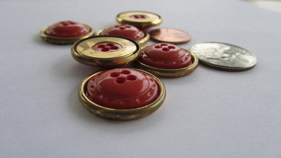 Vintage Coral and Gold Metal Button Lot of 7