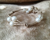 Handmade natural hemp and pearl bracelet-perfect wedding party gift