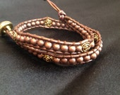 Handmade brown leather wrap bracelet