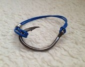 Handmade blue leather fish hook wrap bracelet