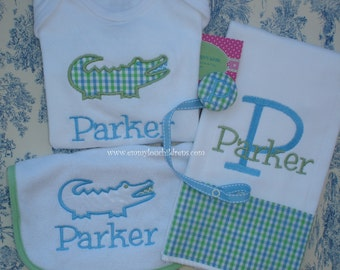 Monogrammed Baby Gift Set - Monogrammed Burp Cloth, Monogrammed Bib, Monogrammed Onesie, and Monogrammed Pacifier Clip - Custom Gift Set.