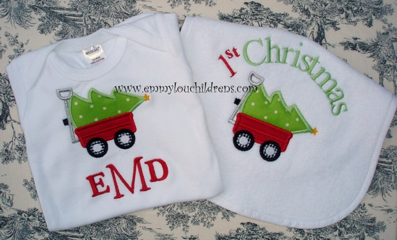 Personalized Baby Gift Set - Christmas Set of One Bib, One Bodsuit and One Pacifier Clip - Monogrammed  Custom Gift Set
